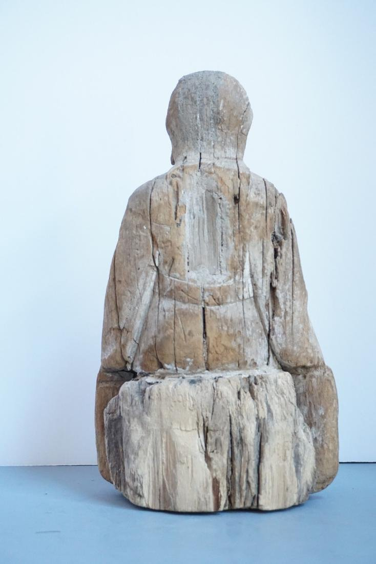 Antique Chinese Wooden Shrine Figure - 3