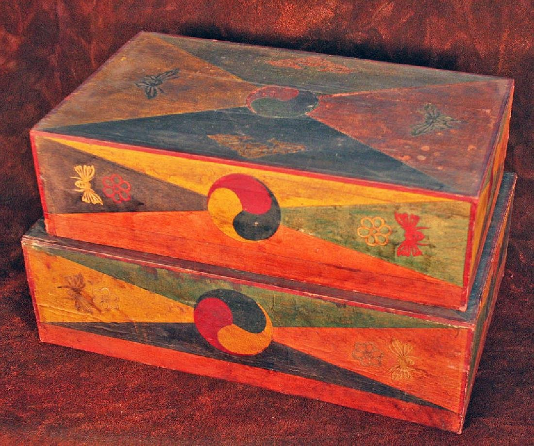 Pair of Korean Wood Boxes with Applied Hand-Cut Design