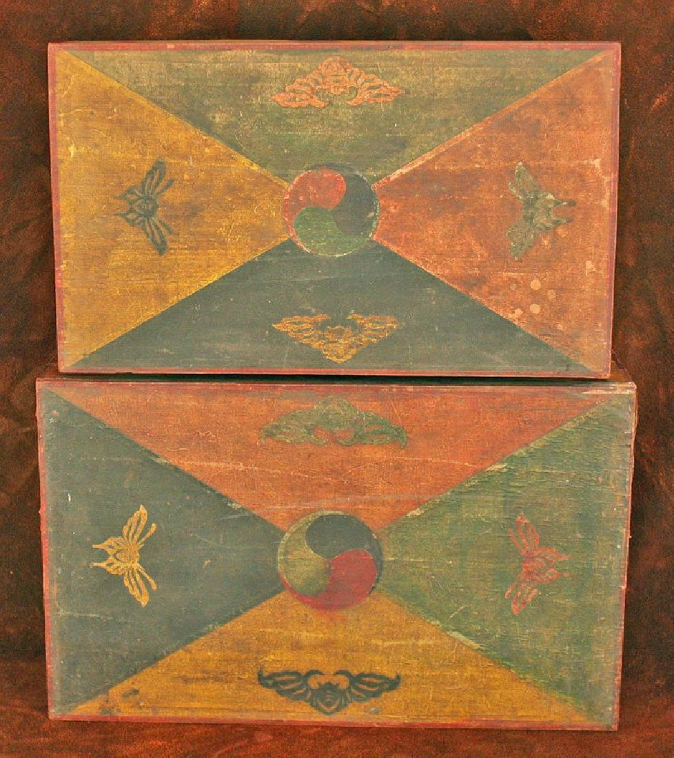 Pair of Korean Wood Boxes with Applied Hand-Cut Design - 2