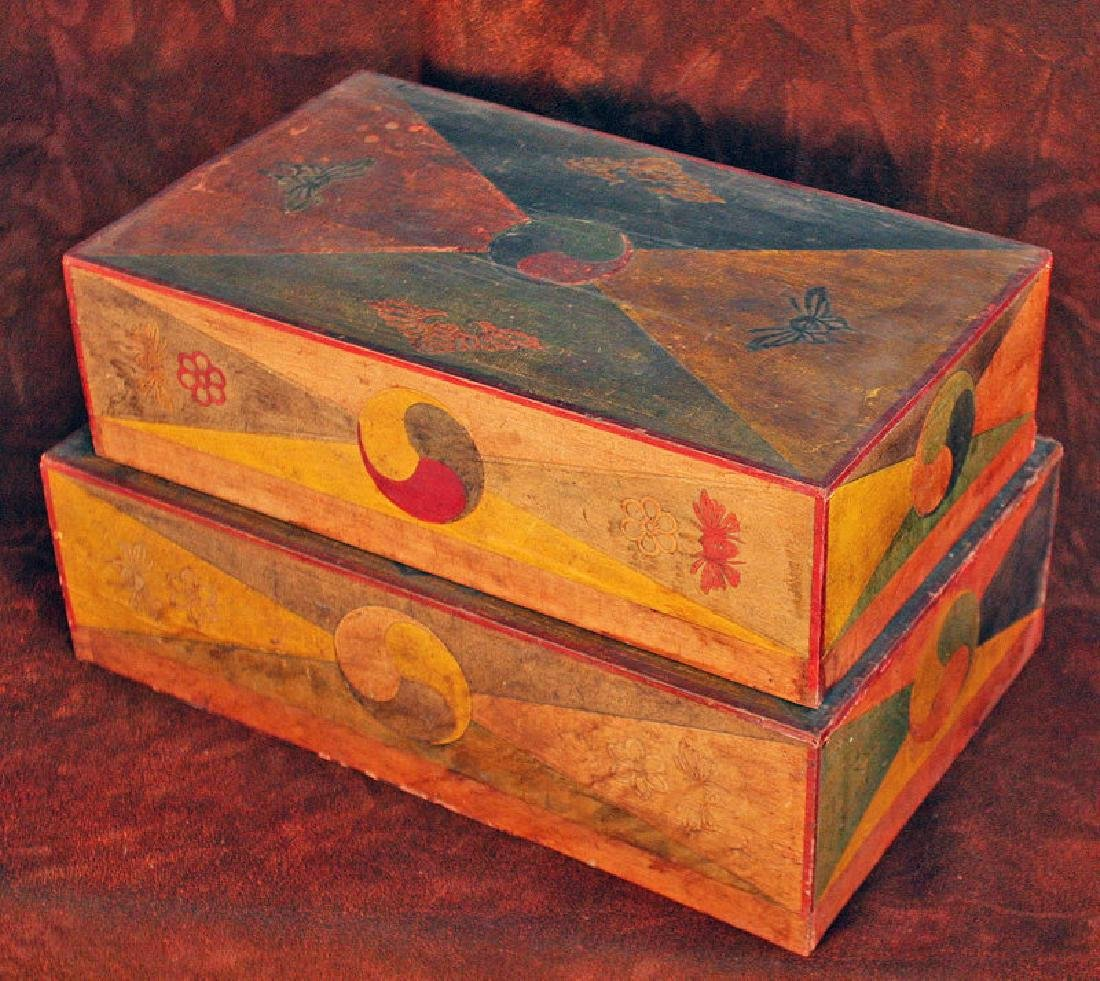 Pair of Korean Wood Boxes with Applied Hand-Cut Design - 3
