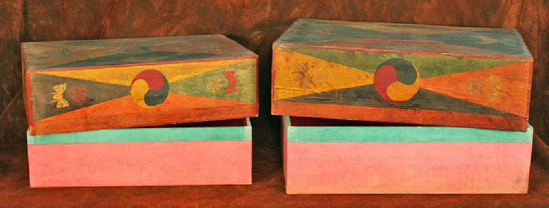 Pair of Korean Wood Boxes with Applied Hand-Cut Design - 4