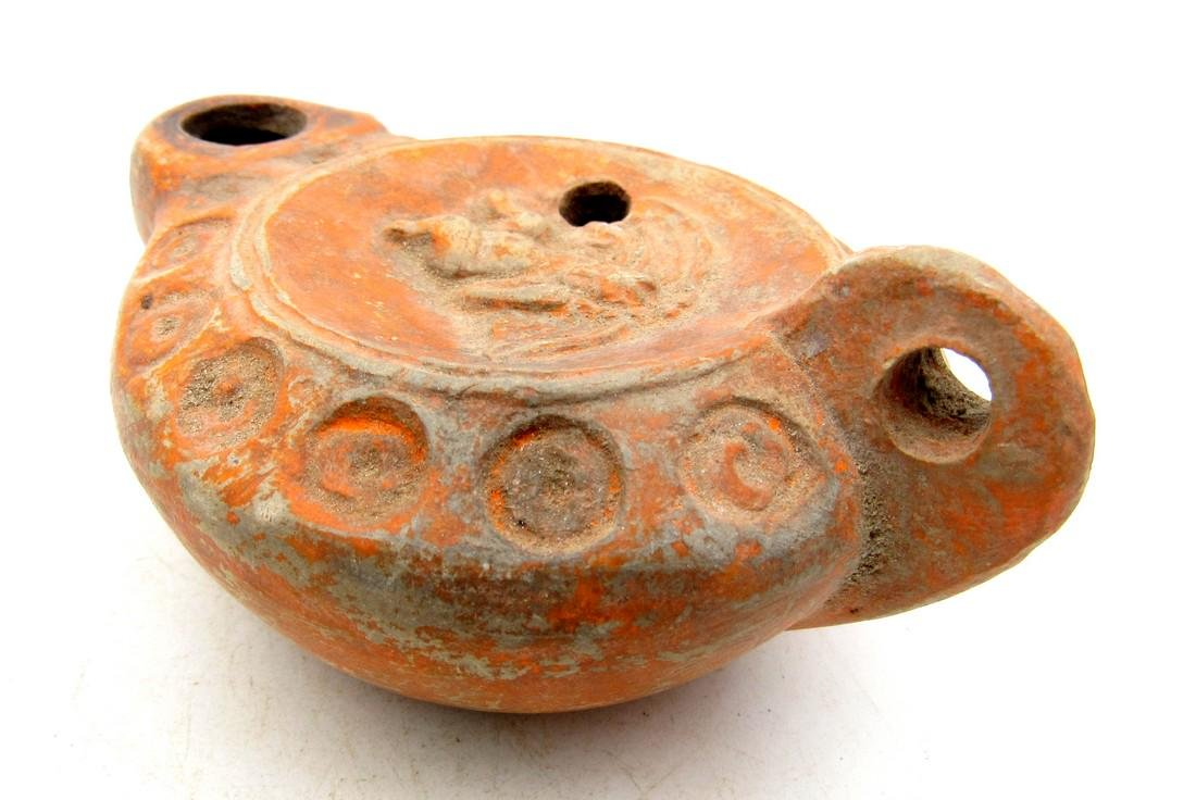 Ancient Roman Terracotta Oil Lamp Decorated with God - 4
