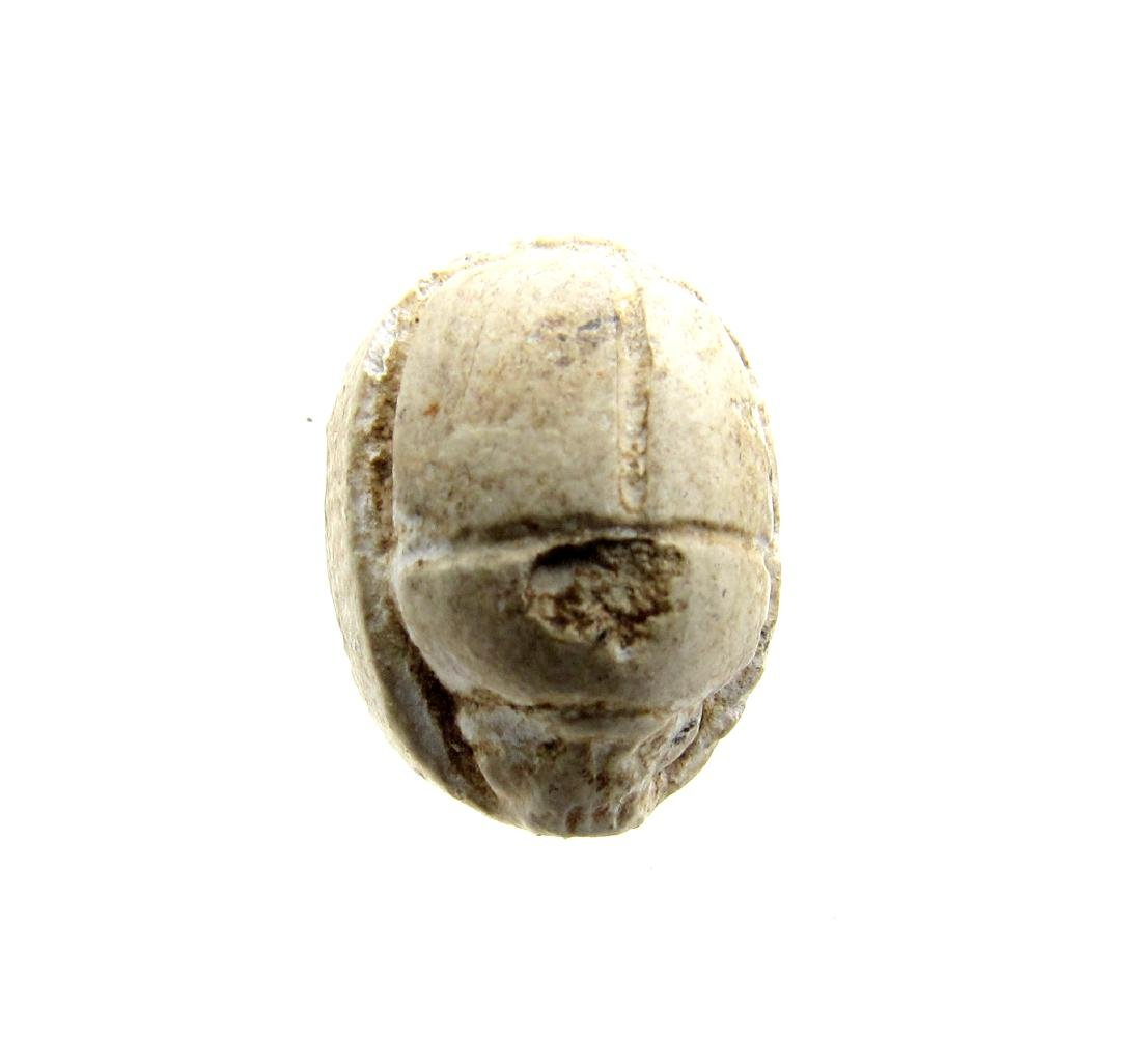 Ancient Egyptian Engraved Steatite Scarab Bead with - 2