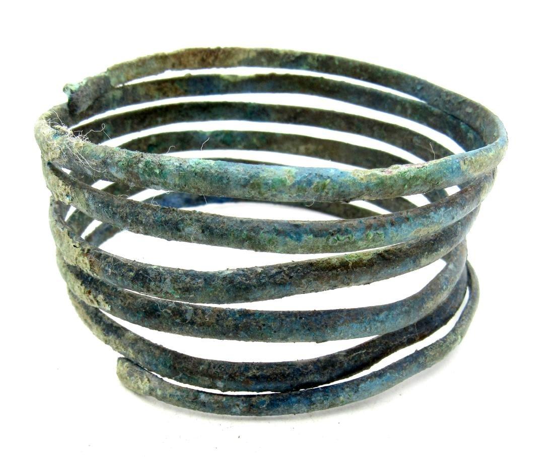 Medieval Viking Era Bronze Bracelet Coiled like a Snake