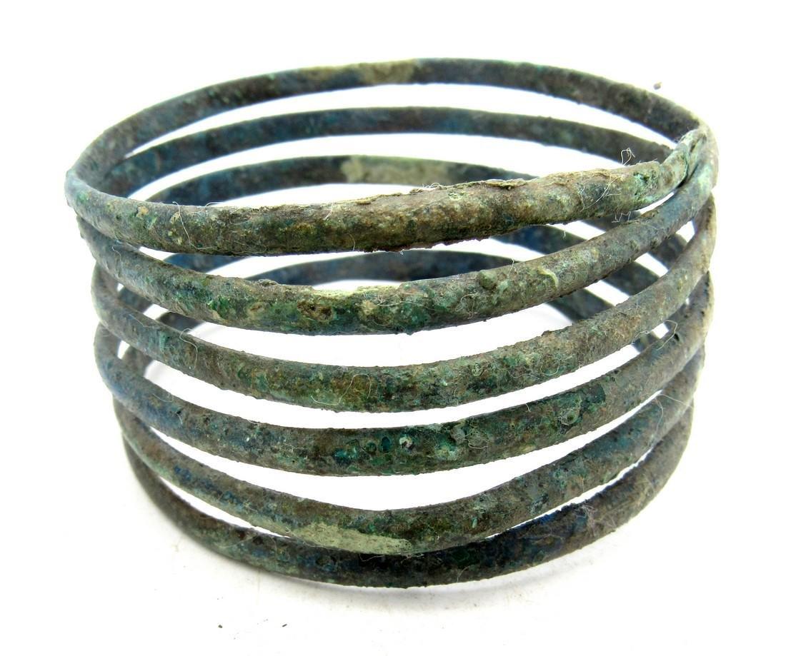 Medieval Viking Era Bronze Bracelet Coiled like a Snake - 2