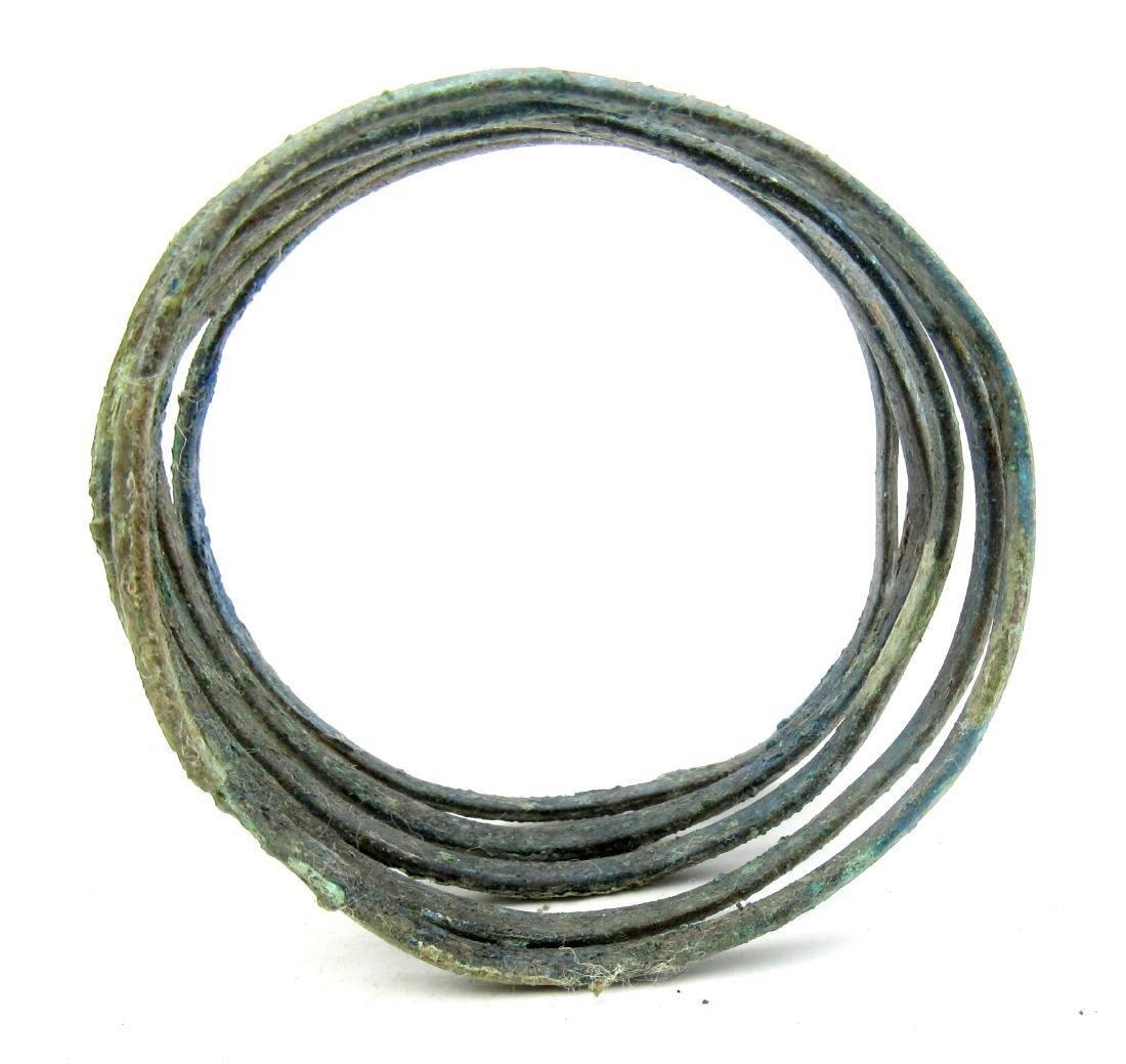Medieval Viking Era Bronze Bracelet Coiled like a Snake - 3