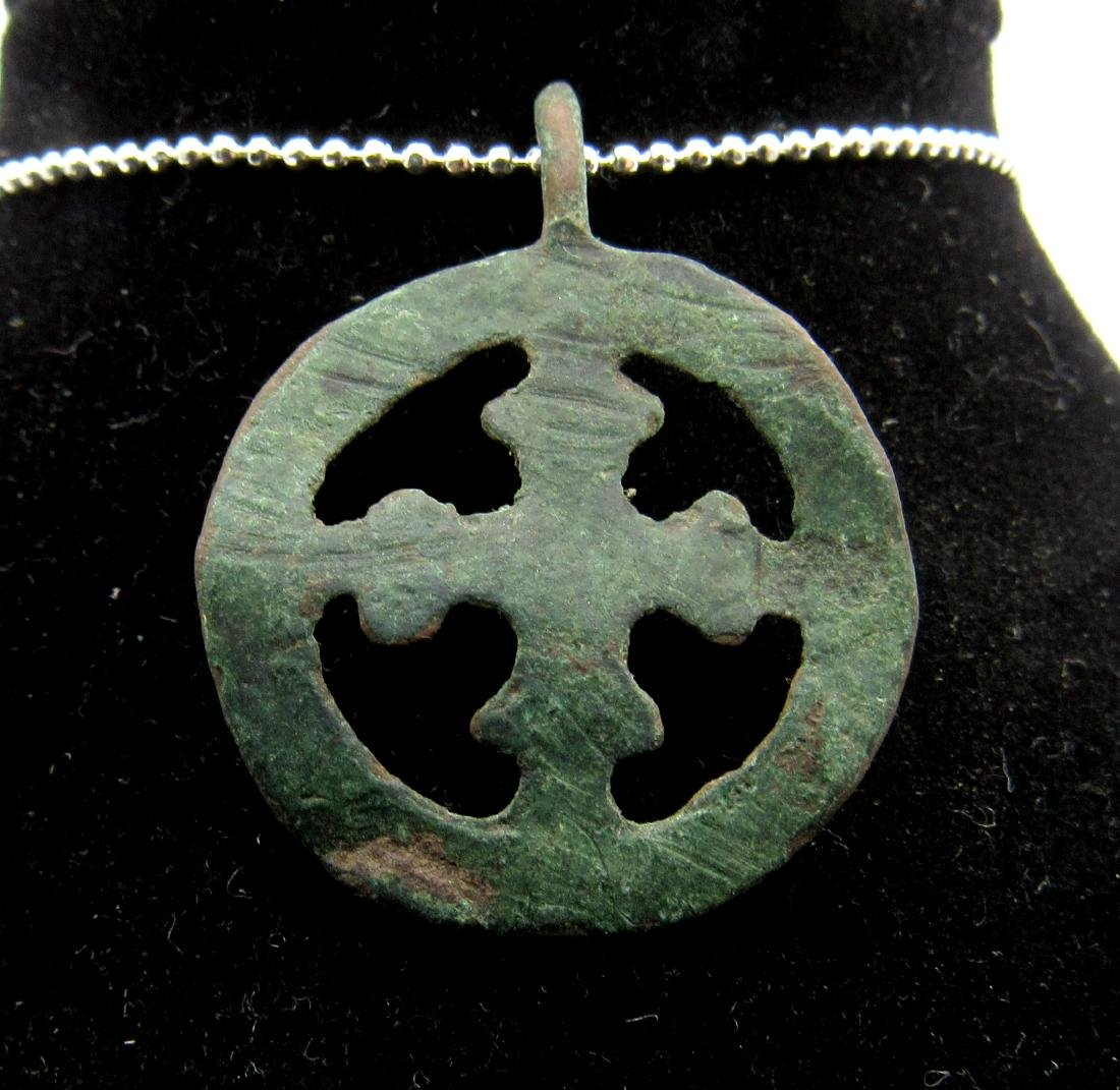 Medieval Viking Era Bronze Open-Work Cross Pendant - 2