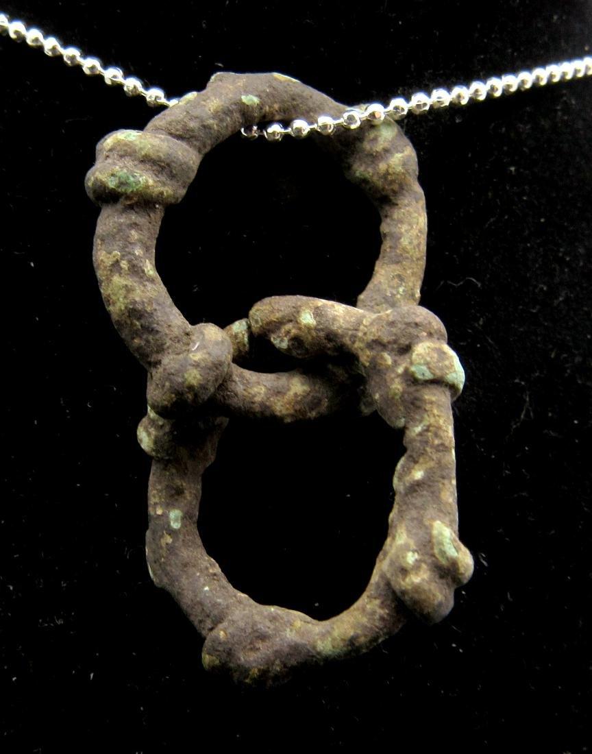 Medieval Viking Era Bronze Linked Knot Ring Pendant - 2