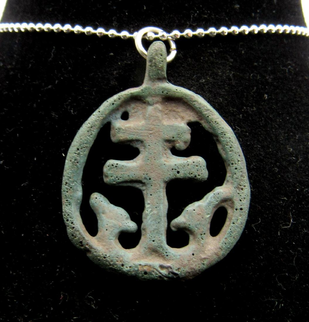 Medieval Viking Era Bronze Open-Work Cross Pendant
