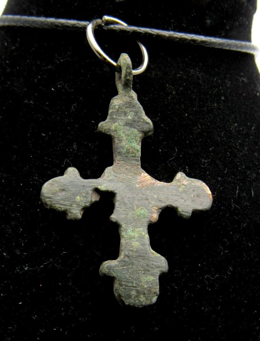 Medieval Viking Era Bronze Decorated Cross Pendant - 2