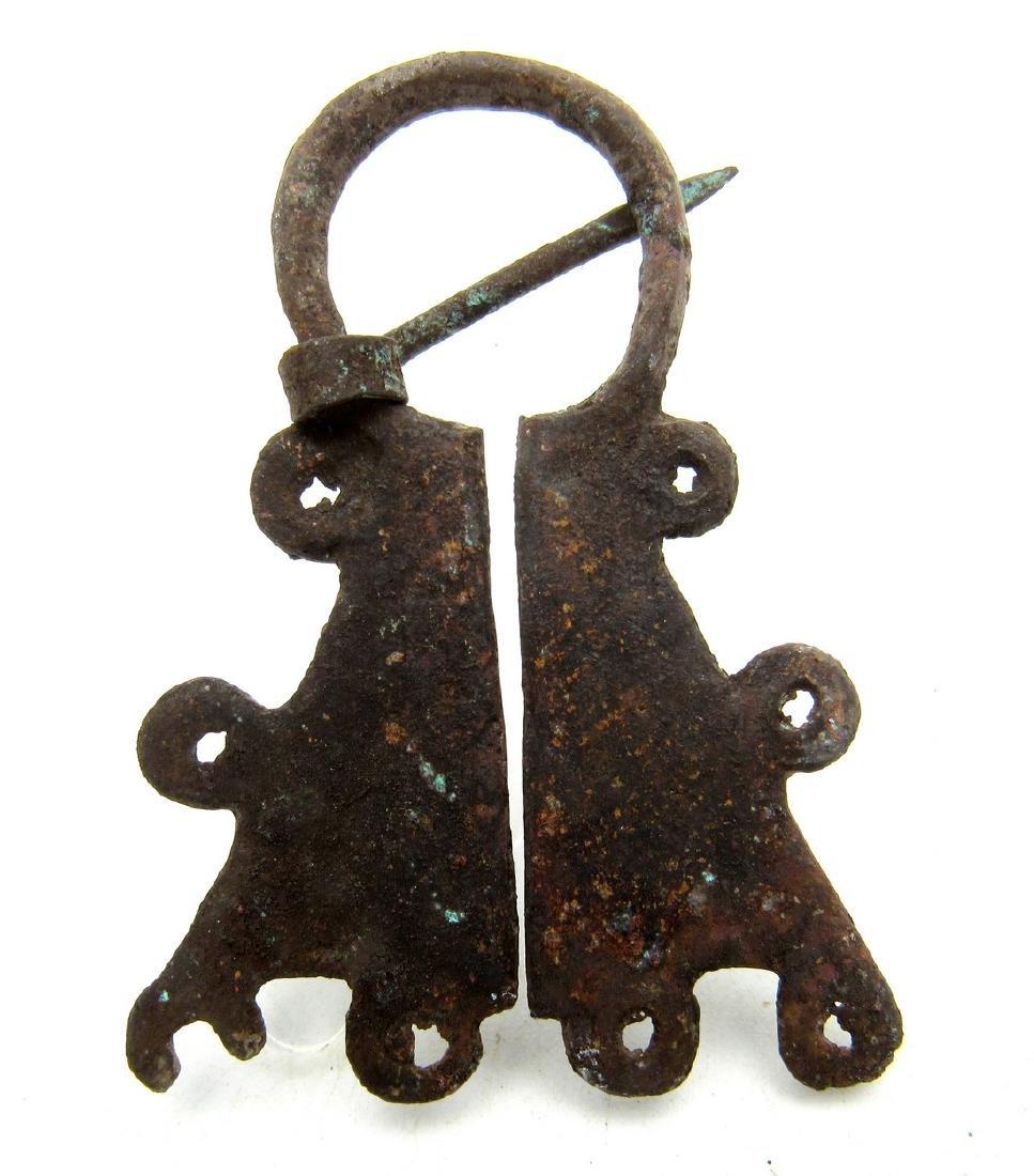 Medieval Viking Era Bronze Penannular Omega Brooch - 2