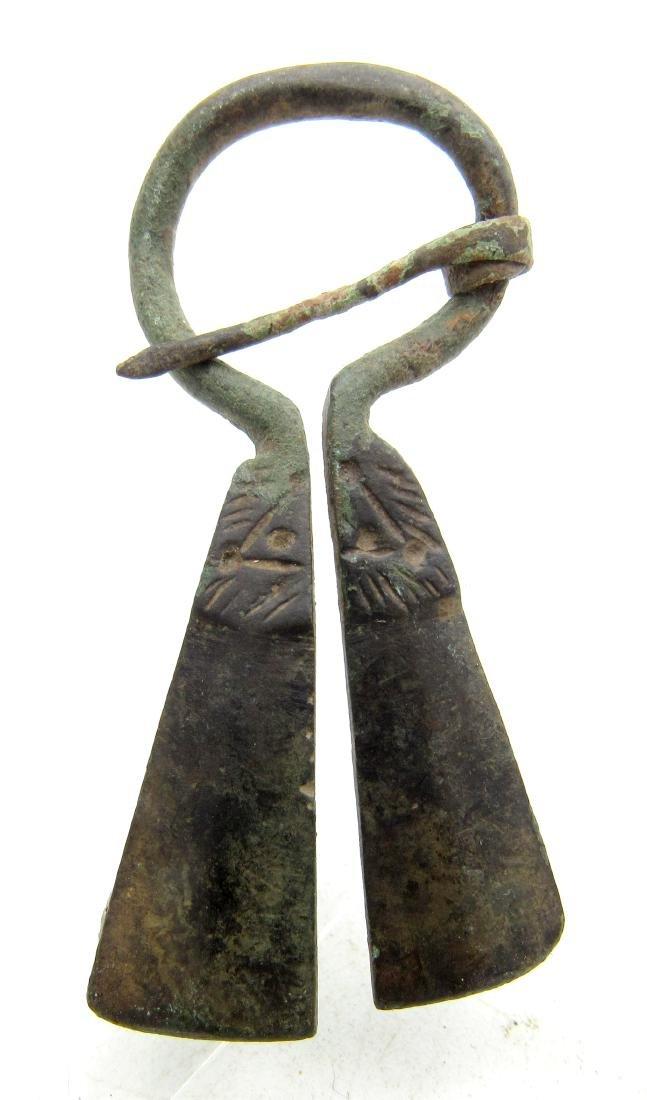 Medieval Viking Era Bronze Penannular Omega Brooch