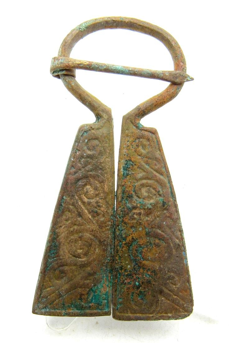 Medieval Viking Era Bronze Penannular Omega Brooch with