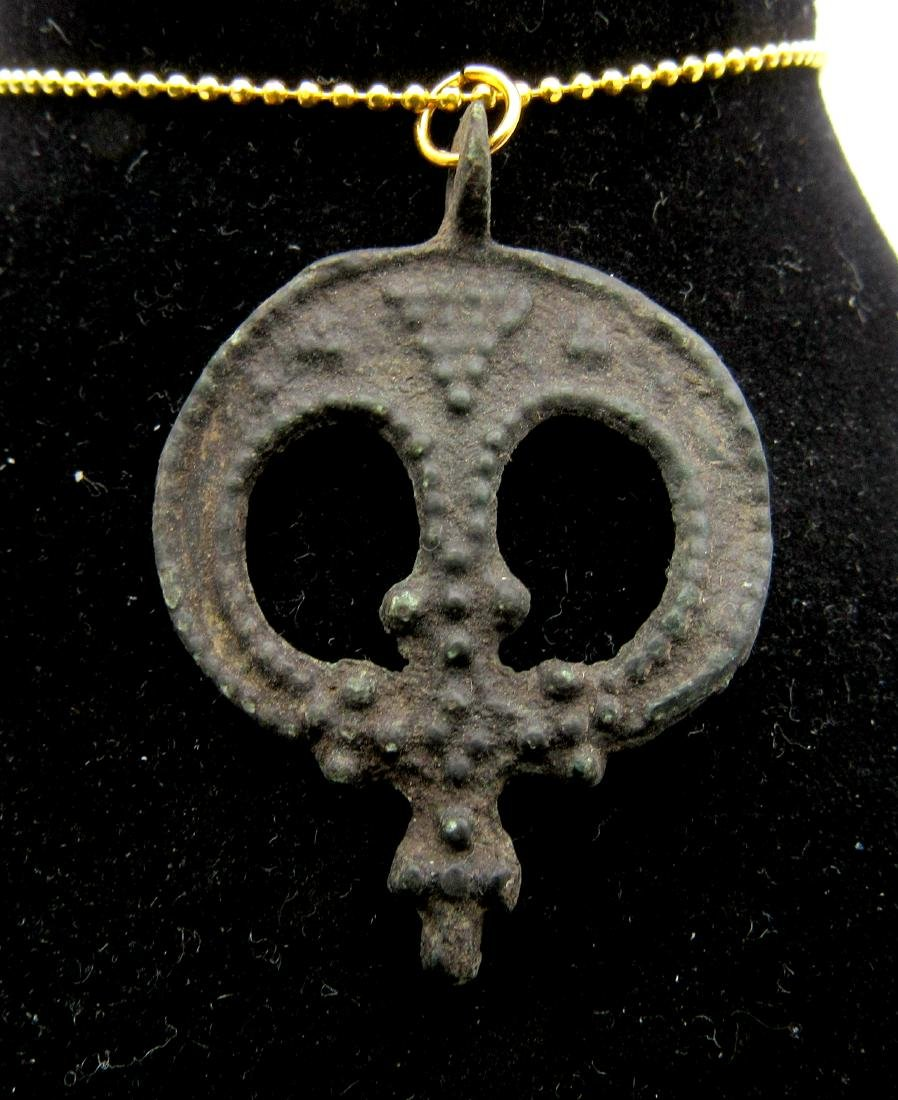Medieval Viking Era Bronze Lunar with Cross Pendant