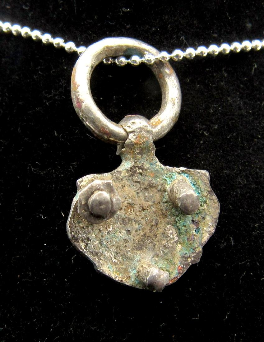 Medieval Viking Era Silver Floral Pendant with Ring - 2