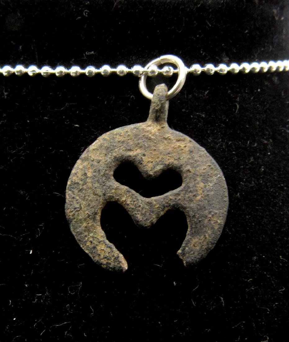 Medieval Viking Era Bronze Open-Work Lunar Pendant