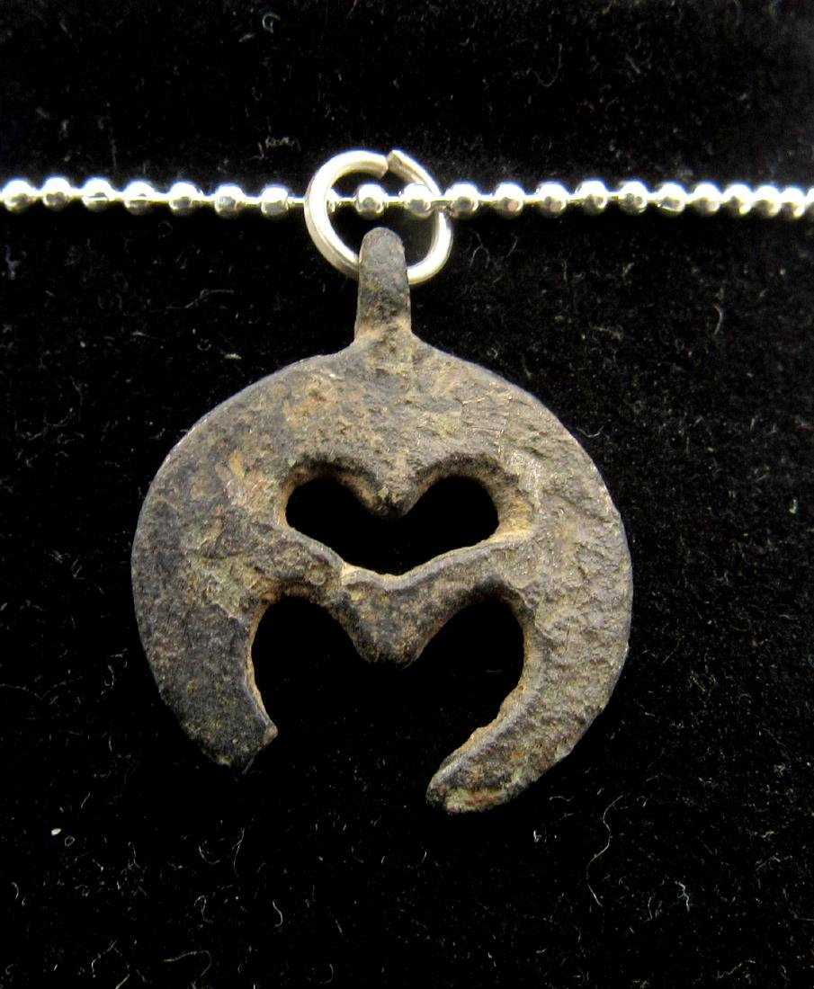 Medieval Viking Era Bronze Open-Work Lunar Pendant - 2