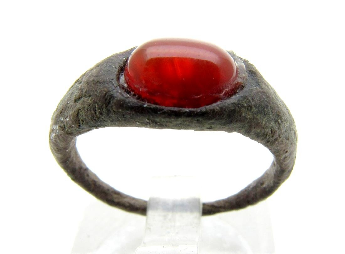 Medieval Viking Era Bronze Ring with Red Stone