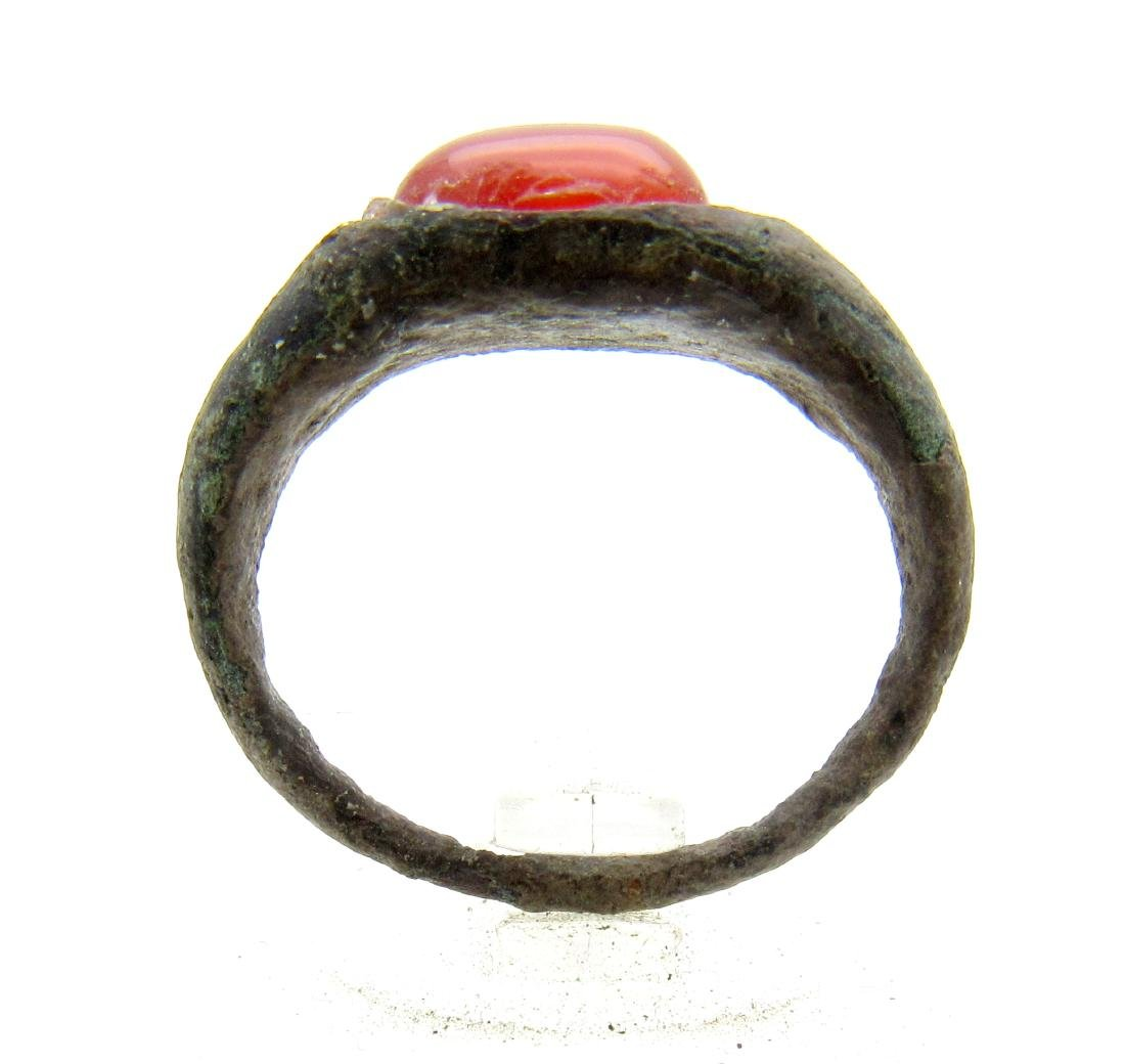 Medieval Viking Era Bronze Ring with Red Stone - 3
