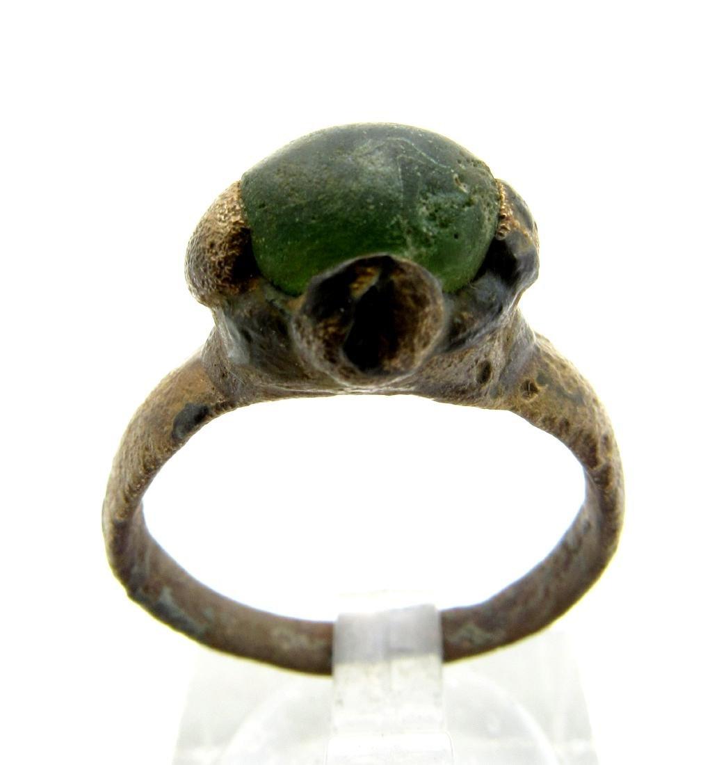 Medieval Viking Era Bronze Ring with White Stone