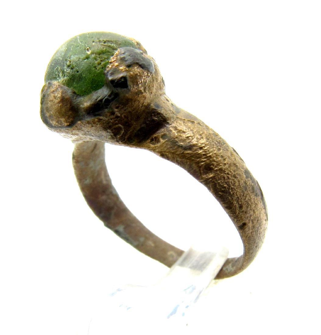 Medieval Viking Era Bronze Ring with White Stone - 2