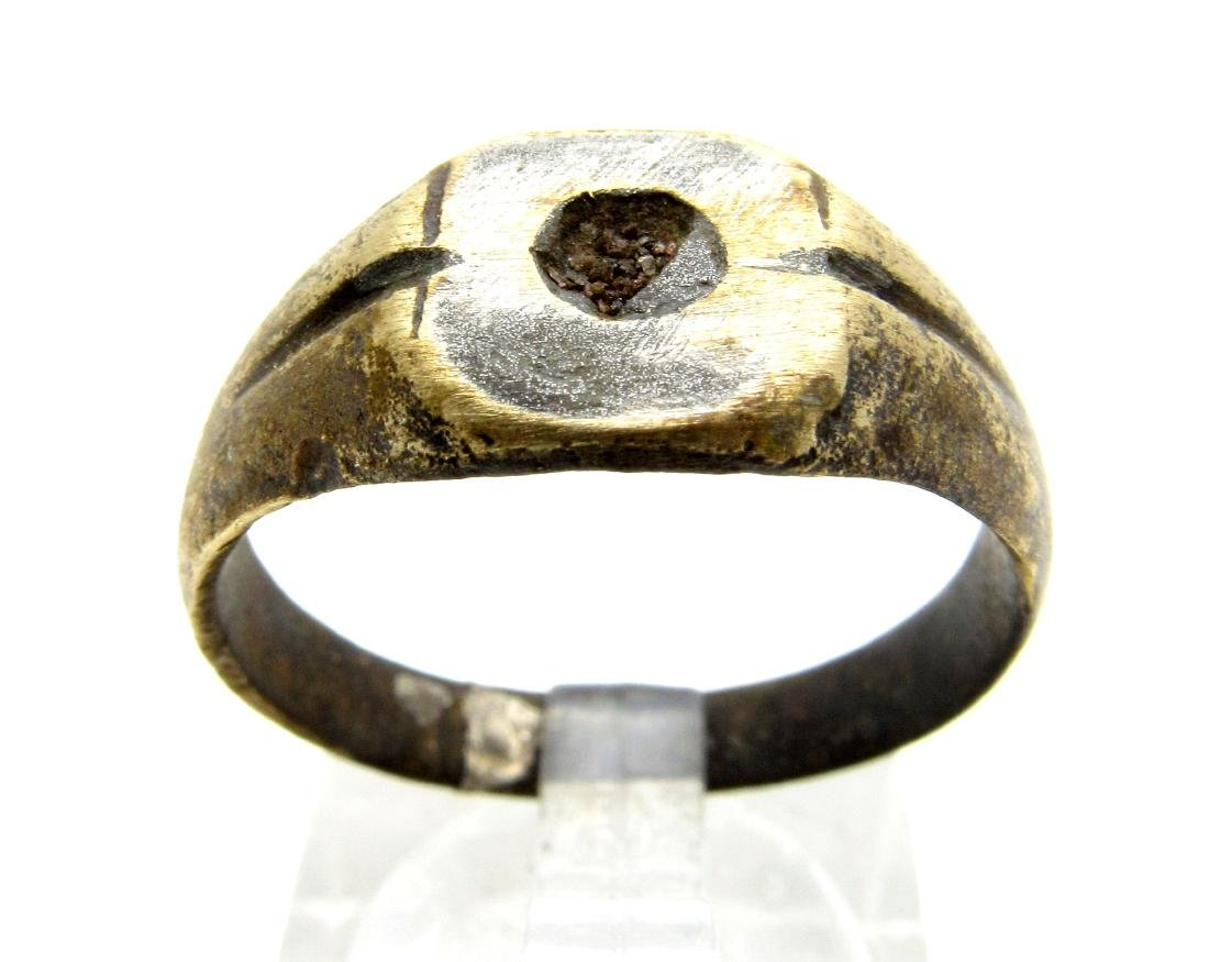 Medieval Viking Era Bronze Ring with Sun Symbol