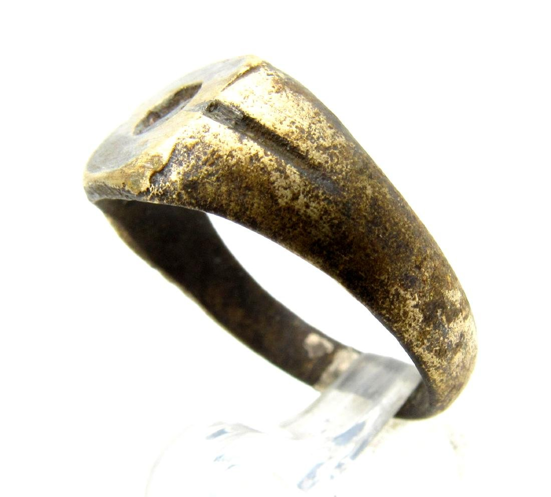 Medieval Viking Era Bronze Ring with Sun Symbol - 2