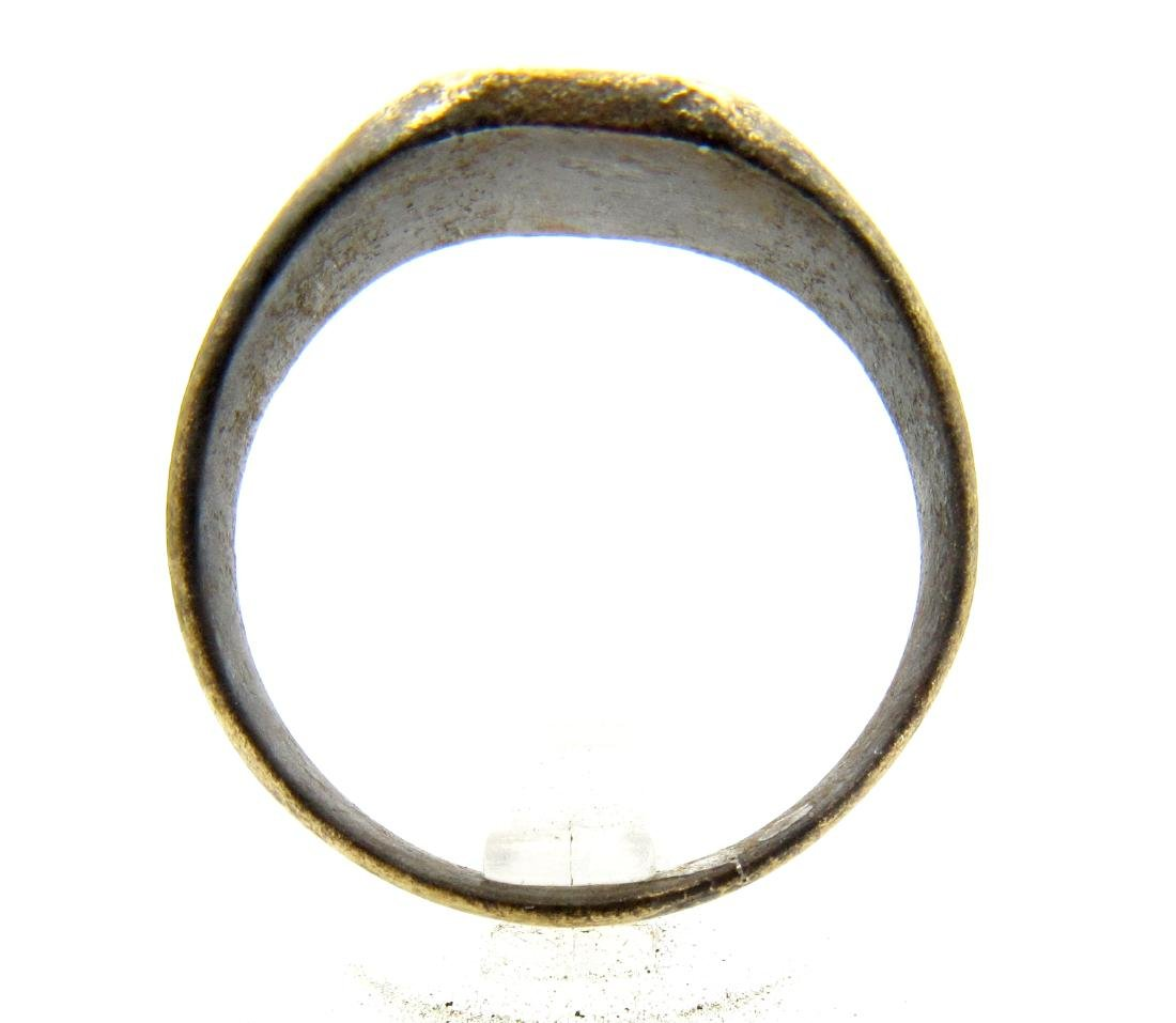 Medieval Viking Era Bronze Ring with Sun Symbol - 3