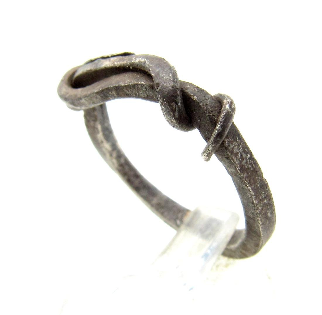 Medieval Viking Era Silver Twisted Knot Ring - 2