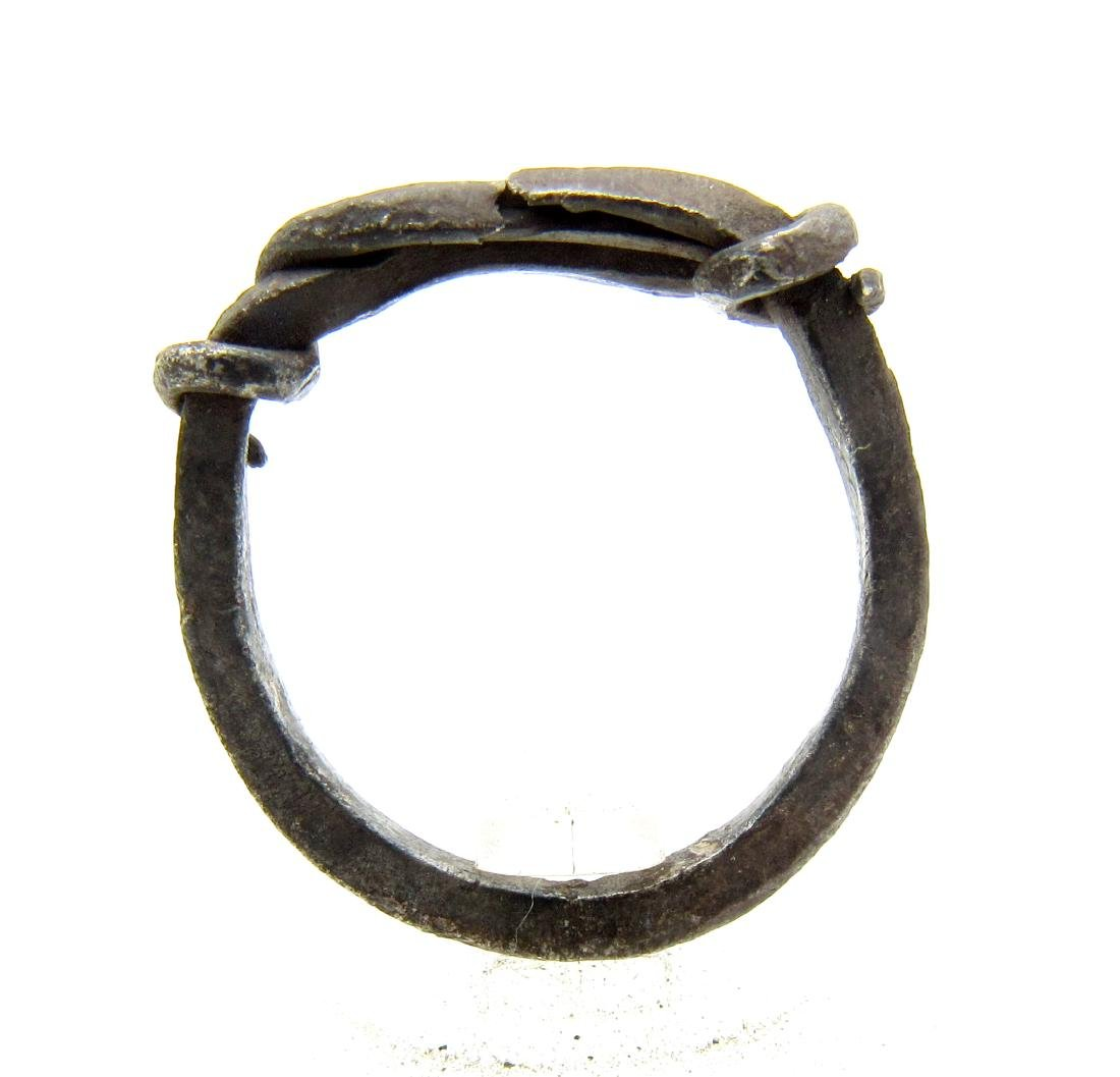 Medieval Viking Era Silver Twisted Knot Ring - 3