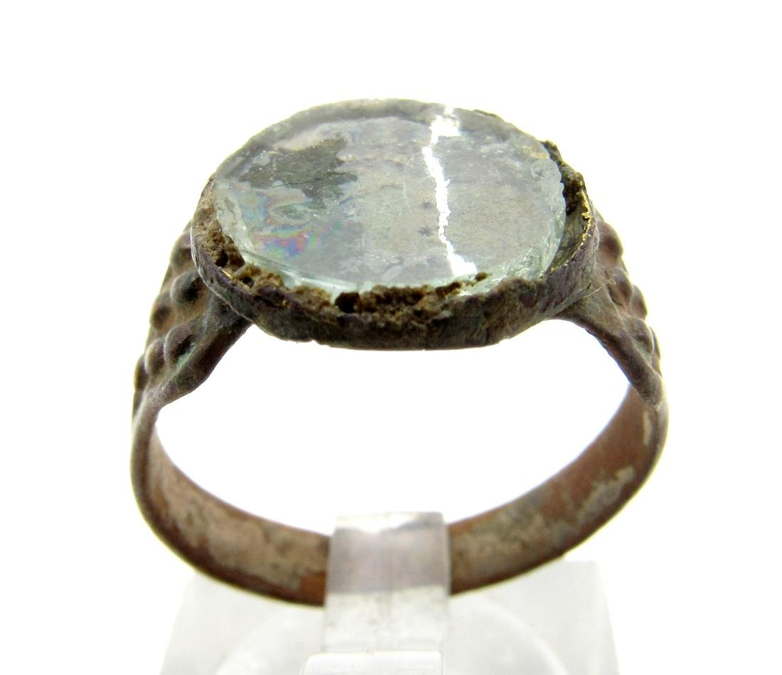 Medieval Viking Era Bronze Ring with Glass in Bezel