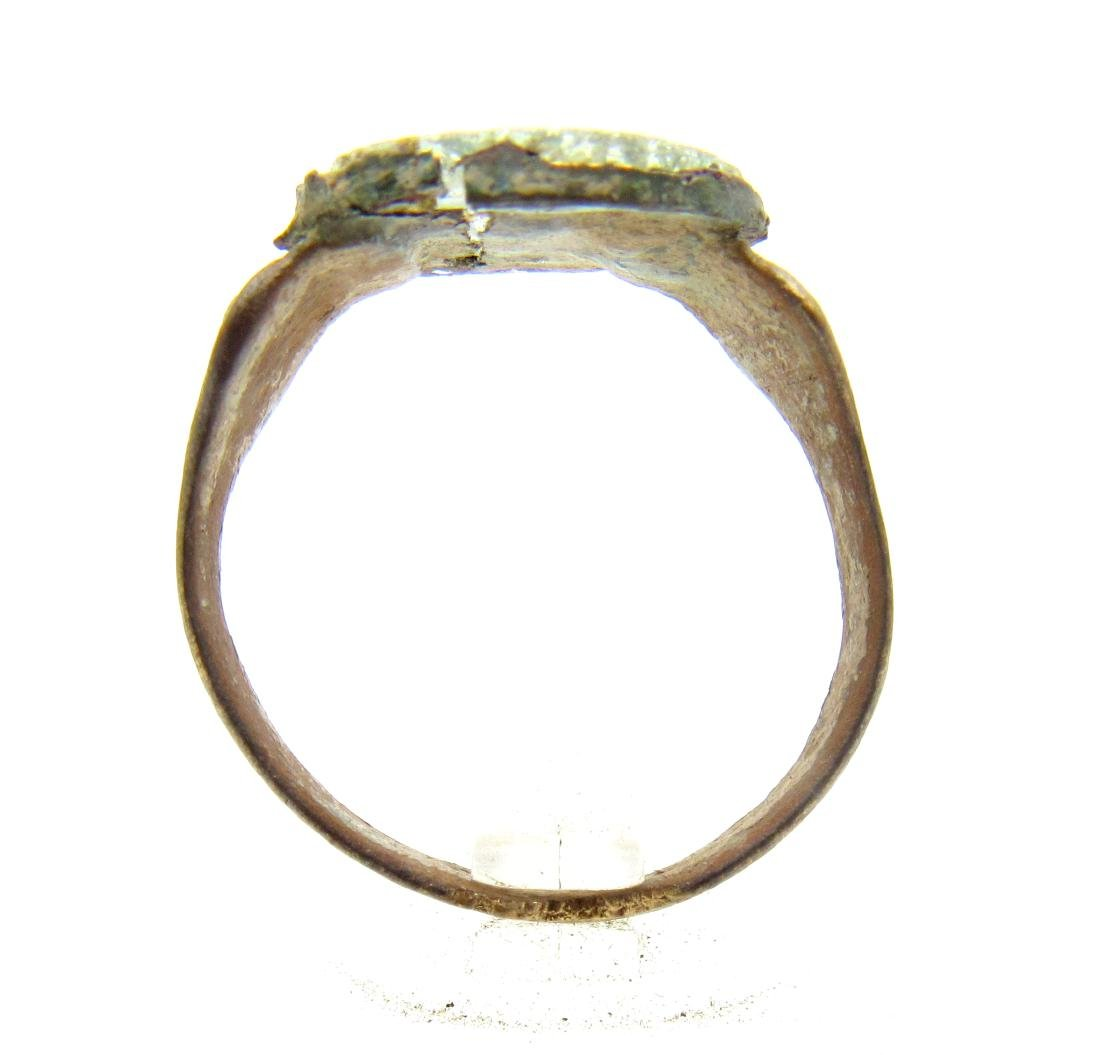 Medieval Viking Era Bronze Ring with Glass in Bezel - 3