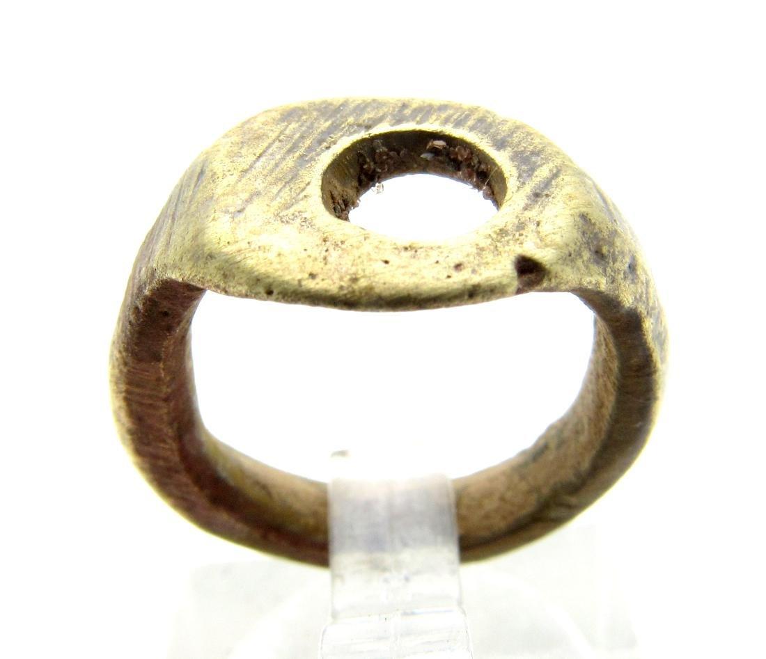 Medieval Viking Era Bronze Ring with Sun Symbol