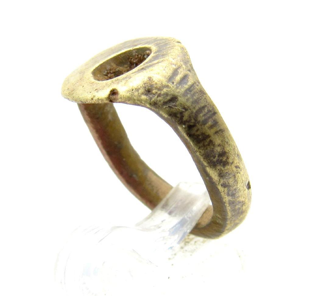 Medieval Viking Era Bronze Ring with Sun Symbol - 2