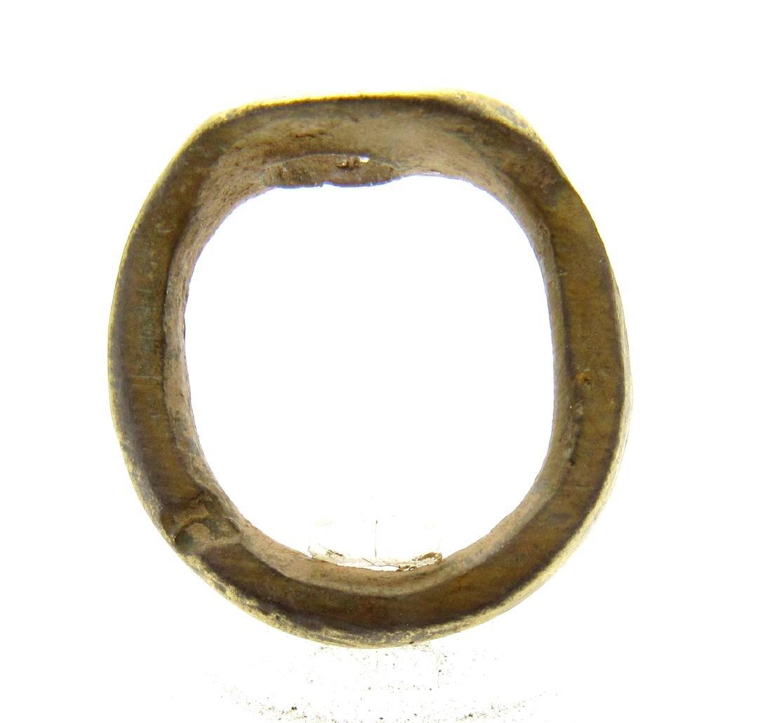 Medieval Viking Era Bronze Ring with Sun Symbol - 3