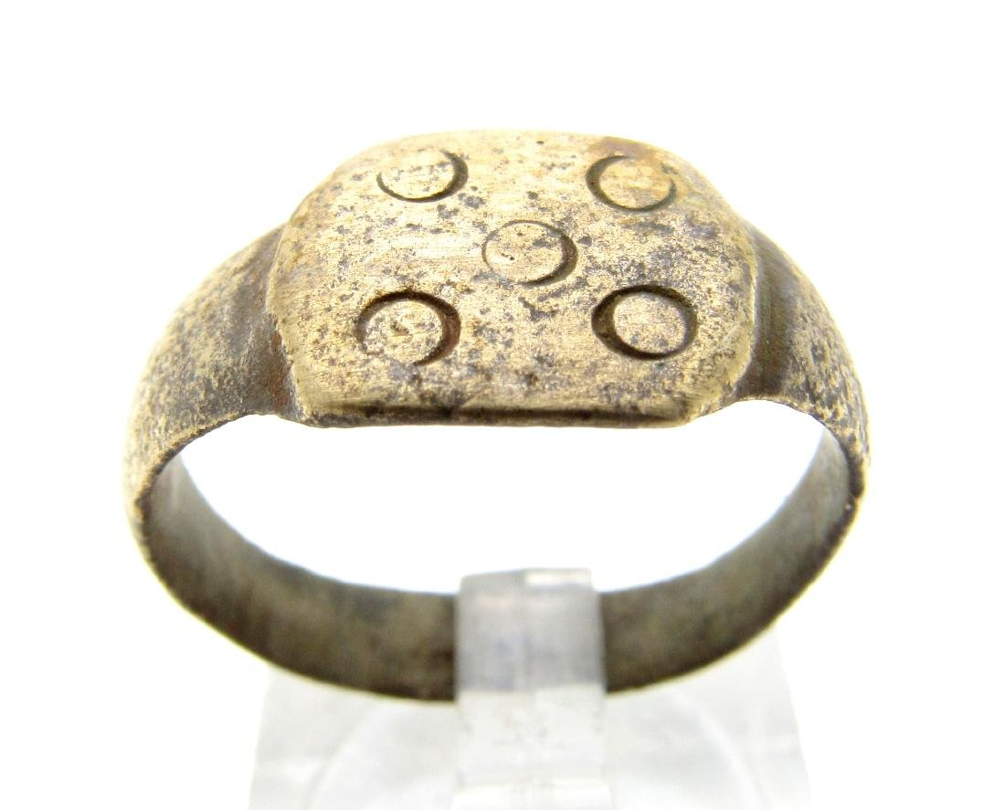 """Medieval Viking Era Bronze """"Five Wounds of Christ"""" Ring"""