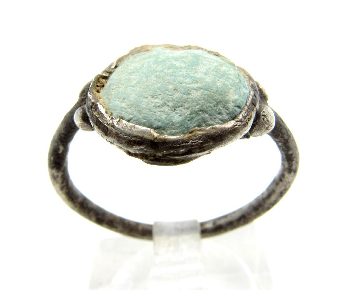 Medieval Viking Era Silver Ring with Enamel in Bezel