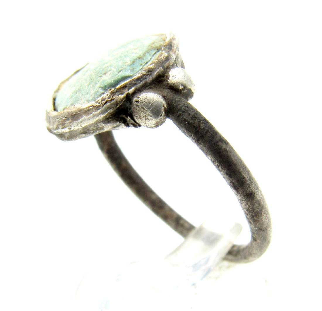 Medieval Viking Era Silver Ring with Enamel in Bezel - 2