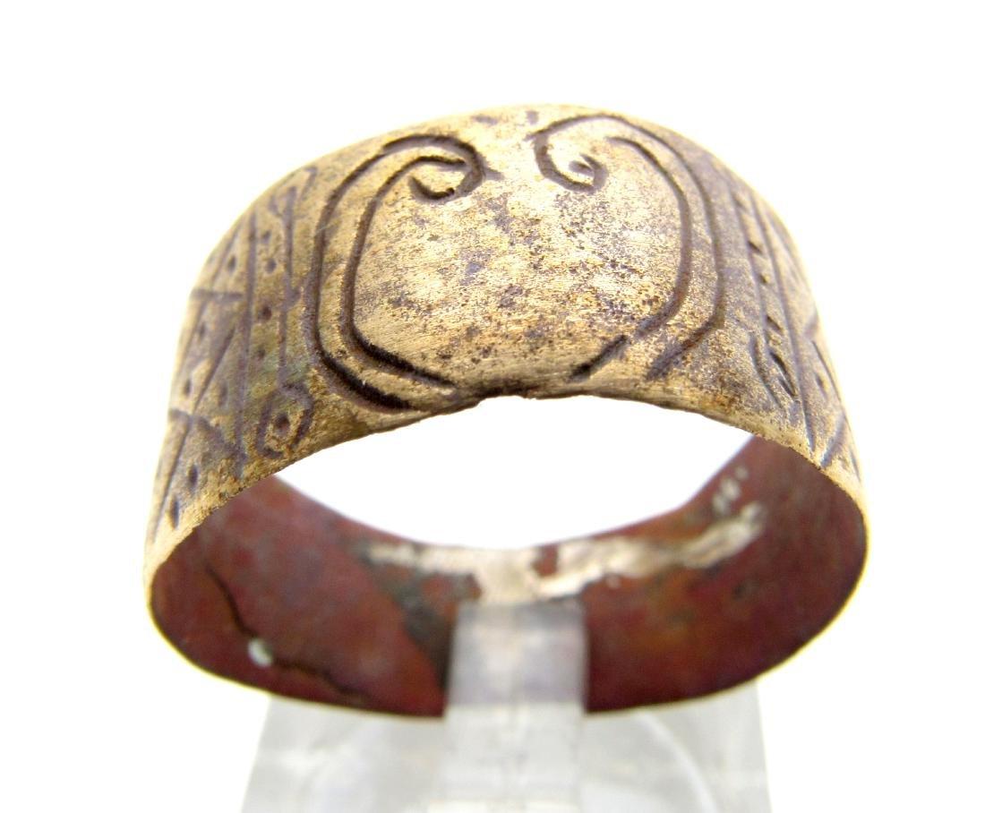Medieval Viking Era Bronze Decorated Ring