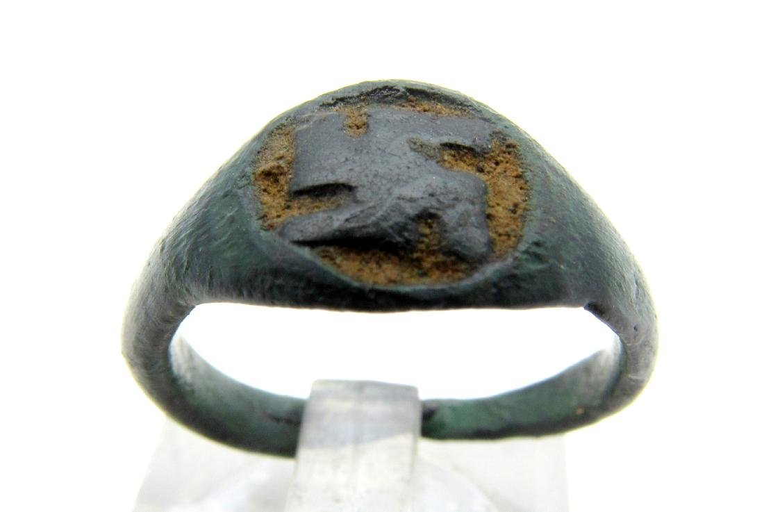 Medieval Viking Era Bronze Ring with Enameled Swastika