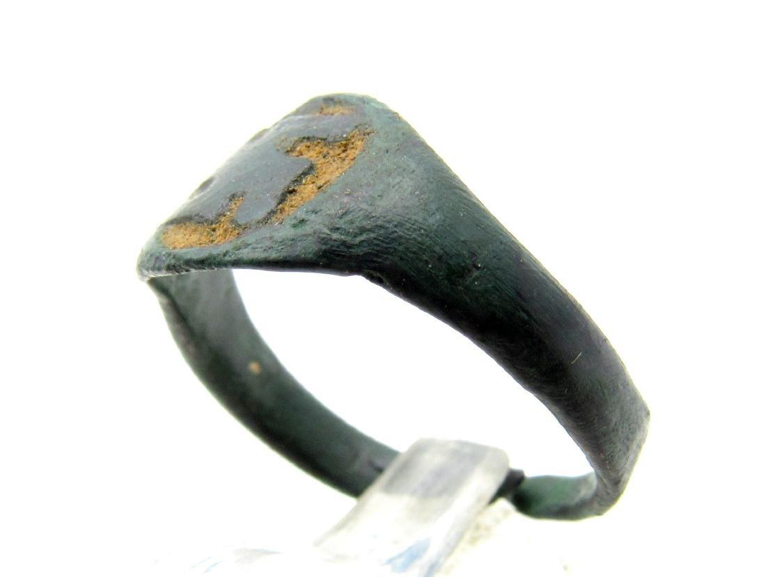 Medieval Viking Era Bronze Ring with Enameled Swastika - 2