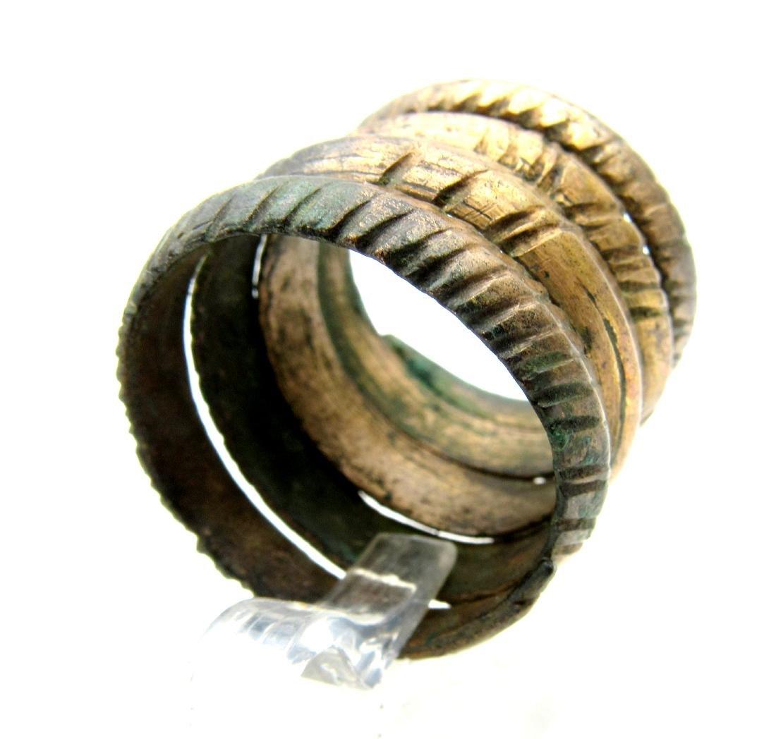 Medieval Viking Era Bronze Coiled Snake Ring - 2