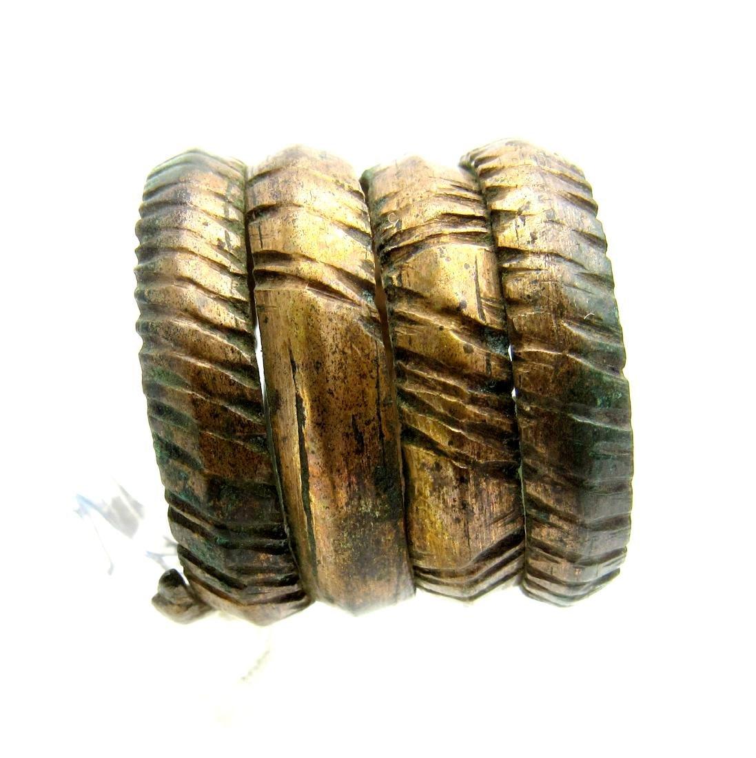 Medieval Viking Era Bronze Coiled Snake Ring - 4