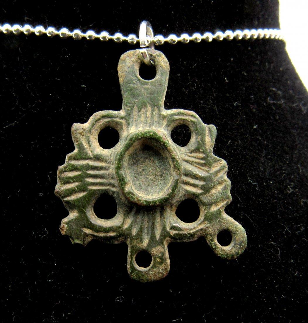 Medieval Viking Era Bronze Open-Work Cross Pendant - 2