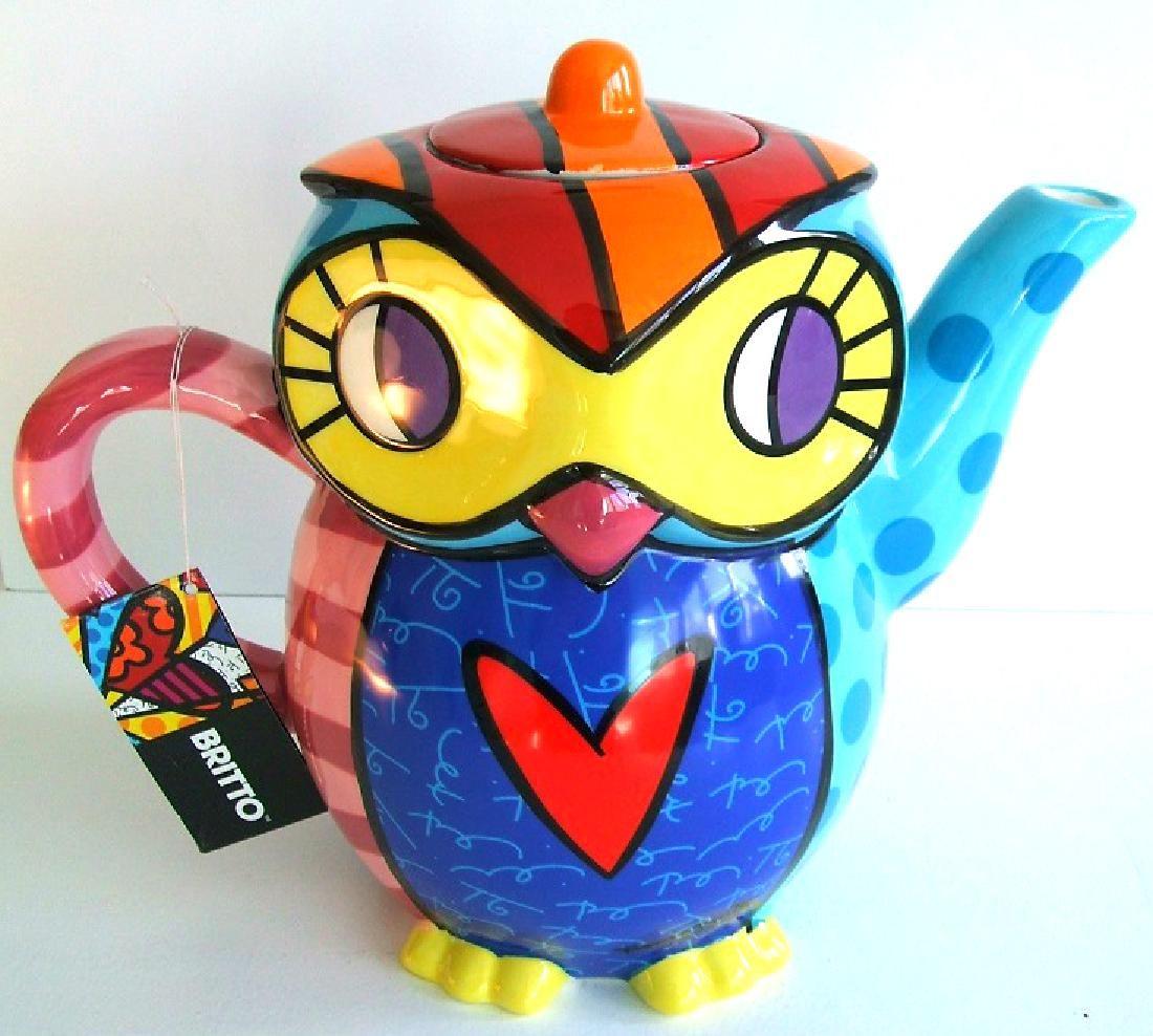 Romero Britto: Teapot Owl Retired
