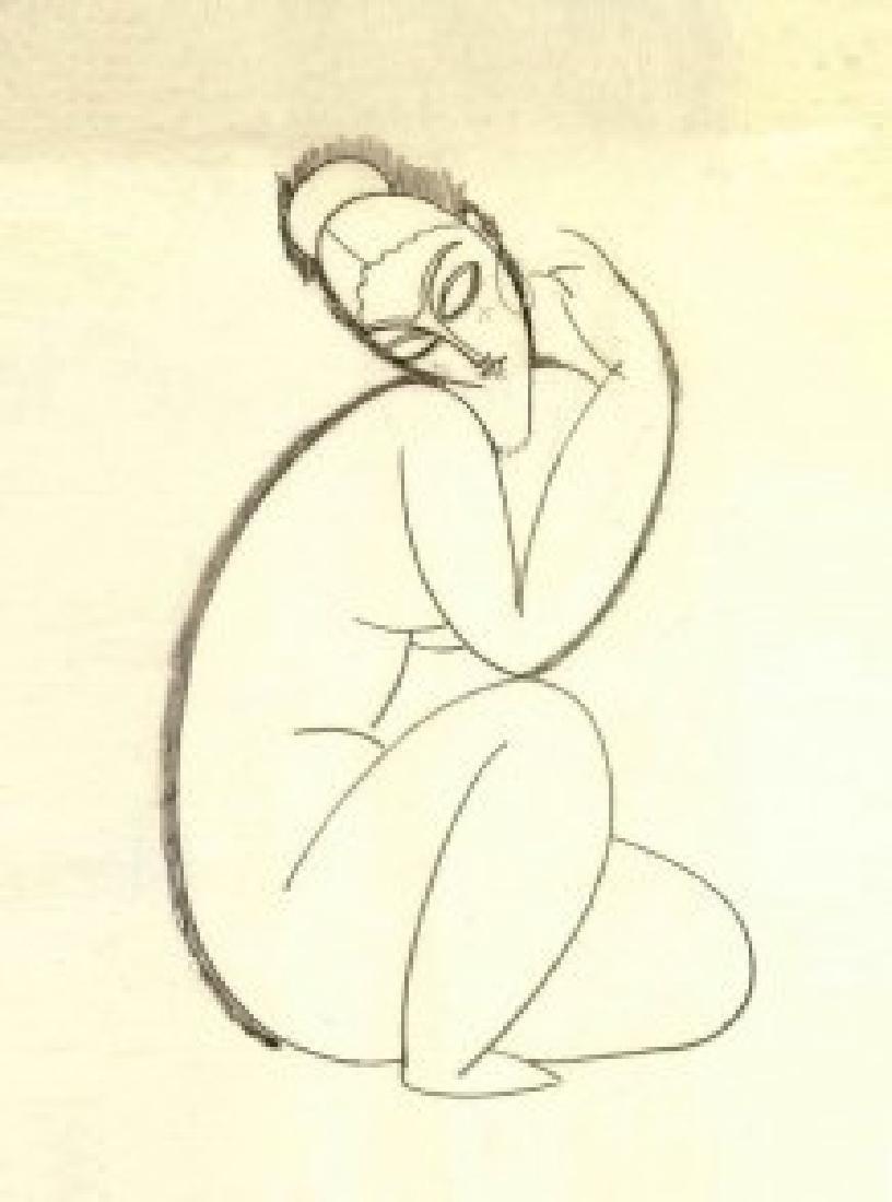 After Amedeo Modiglian: Nu Feminin Assis statue - 5