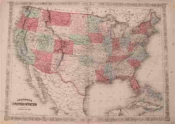 Johnson: Antique Civil War Map of United States, 1864