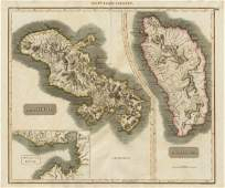 "Thomson: Antique Map of Dominica & ""Martinico"" 1817"