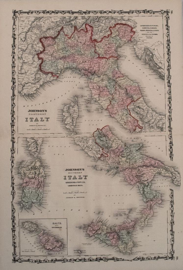 Johnson's Italy Antique Map (2 map frames), 1861