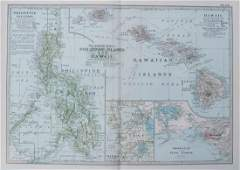 1905 Antique Map of Hawaii and the Philippines